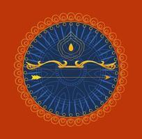 arc d'or avec flèche en face de l'ornement de mandala bleu de conception de vecteur dussehra heureux