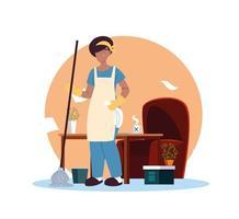 jeune femme travaillant dans le service de nettoyage à domicile vecteur
