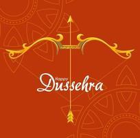 arc d'or avec flèche devant ornements de mandalas de conception de vecteur dussehra heureux