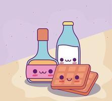 conception de vecteur de sirop et gaufres de bouteille de lait kawaii