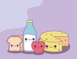 kawaii, pain, lait, bouteille, pomme, et, fromage, vecteur, conception vecteur
