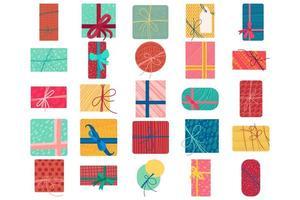 illustration vectorielle plane de boîtes de cadeau de Noël coloré vecteur