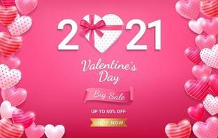 boîte-cadeau avec ruban rouge et coeur 3d. fond de carte de Saint Valentin.