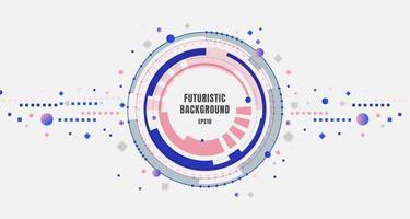 technologie de conception de bannière abstraite cercles d'engrenages bleus et roses futuristes avec des éléments géométriques sur fond blanc. vecteur