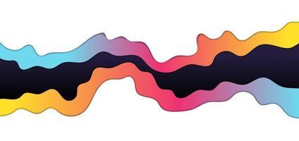 couche de vague colorée abstraite sur style art papier fond blanc