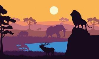scène de silhouettes de faune animaux sauvages vecteur