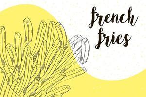 délicieuses frites, bannière dessinée à la main vecteur