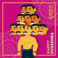 Bonne fête de dussehra avec démon ravana de dix têtes fond rose vecteur