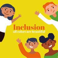 lettrage de concept d & # 39; inclusion avec des personnes en tant que communauté vecteur