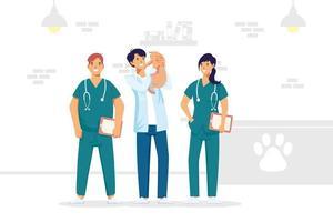 personnages du personnel médical vétérinaire vecteur