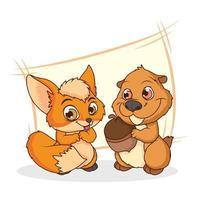personnages de dessins animés comiques mignons tamia et renard vecteur