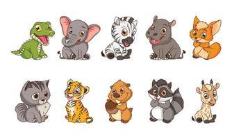 mignons personnages de dessins animés de dix bébés animaux vecteur
