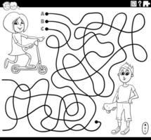 labyrinthe avec fille et garçon page de livre de coloriage vecteur