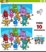 jeu éducatif de différences avec des personnages de robots vecteur