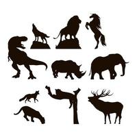 jeu d'icônes silhouette animaux sauvages et faune vecteur