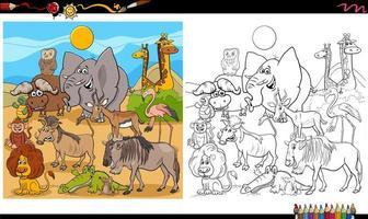 Page de livre de coloriage de groupe de personnages animaux drôles vecteur