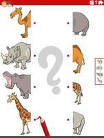 faire correspondre les moitiés d'images avec la tâche éducative des animaux de safari vecteur