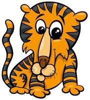 illustration de dessin animé drôle de personnage animal tigre vecteur