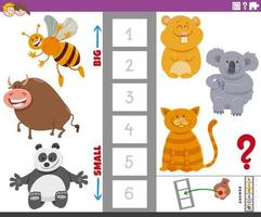 tâche éducative avec de grands et petits personnages animaux vecteur
