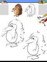 dessin et coloriage avec animal hérisson vecteur