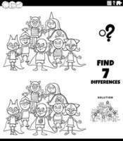 tâche de différences avec les enfants à la page du livre de couleurs de la fête costumée