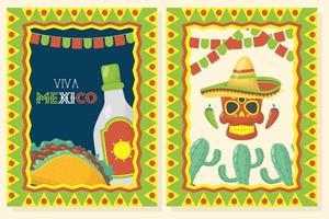 ensemble d'affiches de célébration viva mexico vecteur