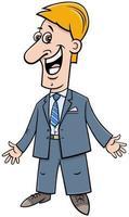 heureux, homme affaires, dans, costume, dessin animé, illustration vecteur