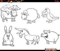 dessin animé, animaux de ferme, caractères, ensemble, livre coloration, page vecteur