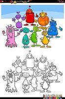 dessin animé extraterrestres ou personnages fantastiques page de livre de coloriage vecteur