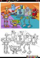 dessin animé robots personnages fantastiques page de livre de coloriage vecteur