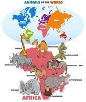 illustration éducative avec des animaux africains et des continents vecteur