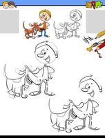 dessin et coloriage avec garçon et son chien vecteur