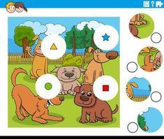 Match de pièces puzzle avec des personnages de chiens vecteur