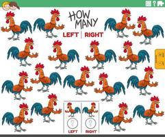 compter les images gauche et droite d & # 39; un coq de dessin animé vecteur