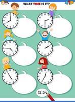 dire le temps tâche éducative avec des enfants de dessins animés vecteur