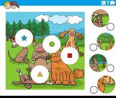 Match de pièces puzzle avec des personnages de chiens heureux vecteur