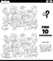 tâche éducative des différences avec la page du livre de couleurs des chats et des chiens