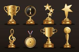 jeu d'icônes de trophée d'or vecteur