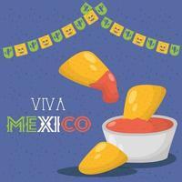 Célébration de viva mexico avec nachos et salsa vecteur