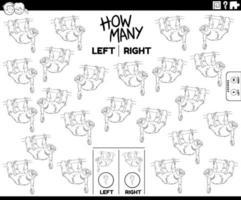 compter les images gauche et droite de la page du livre de couleurs paresseux vecteur