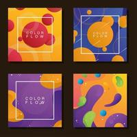 lot de quatre arrière-plans de flux de couleurs vives