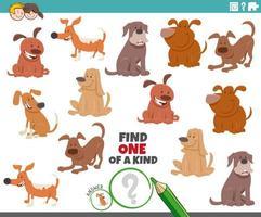 jeu unique pour les enfants avec des chiens de bande dessinée vecteur