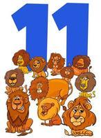 numéro onze pour les enfants avec groupe de lions de dessin animé vecteur