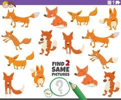 trouver deux mêmes jeux éducatifs renards pour les enfants vecteur