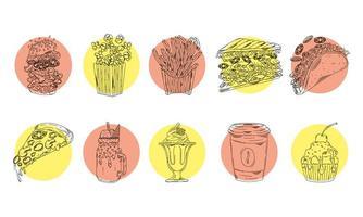 paquet de dix icônes dessinées à la main de restauration rapide
