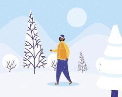 jeune femme afro portant des vêtements d'hiver dans snowscape vecteur