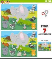 jeu éducatif de différences avec des animaux sauvages de dessin animé vecteur