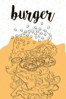 délicieux hamburger restauration rapide, bannière dessinée à la main