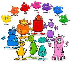 couleurs de base avec groupe de personnages extraterrestres vecteur