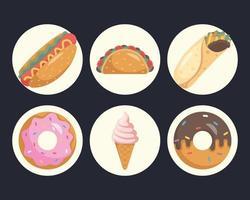 lot de neuf icônes de restauration rapide